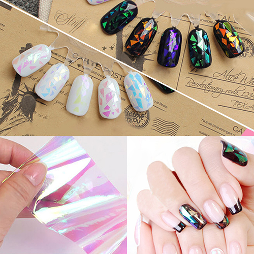 5 Color/Set Nail Art Broken Mirror Shell Glass Paper Symphony Irregular Aurora Laser Platinum Foil Decal Sticker 3D Manicure Kit 2016 new arrival 5cm 100m roll nail aurora stickers broken glass symphony paper nail glassine paper for 3d nail art decorations