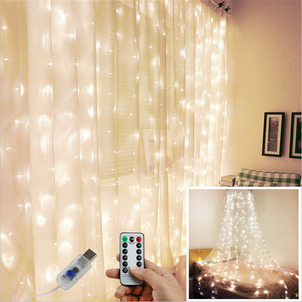 3x3m 300 LED Copper Wire Icle Curtain USB Lights With Fairy Lights Remote Garland For Wedding Party Curtain Decoration