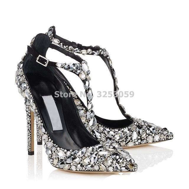 Bling Bling Crystal femmes chaussures de mariage bout pointu Super Stiletto talon haut sandales t bar couverture talon boucle sangle pompes - 2