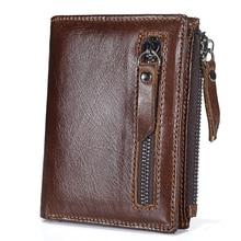 Lederen heren portemonnee met munthouder Korte mannelijke portefeuilles Creditcardhouder Oil Wax Leren vintage organizer portemonnee j50