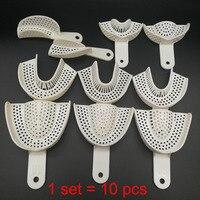 10 unids/set bandejas de plástico de impresión Dental sin bandeja de malla herramientas de dentista bandejas de soporte de dientes de laboratorio de odontología