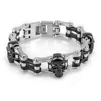 21mm Man Motorbike Chain Bracelet Men Skull Biker Motorcycle Link Bracelet Bangles Black Silver Stainless Steel Fashion Jewelry