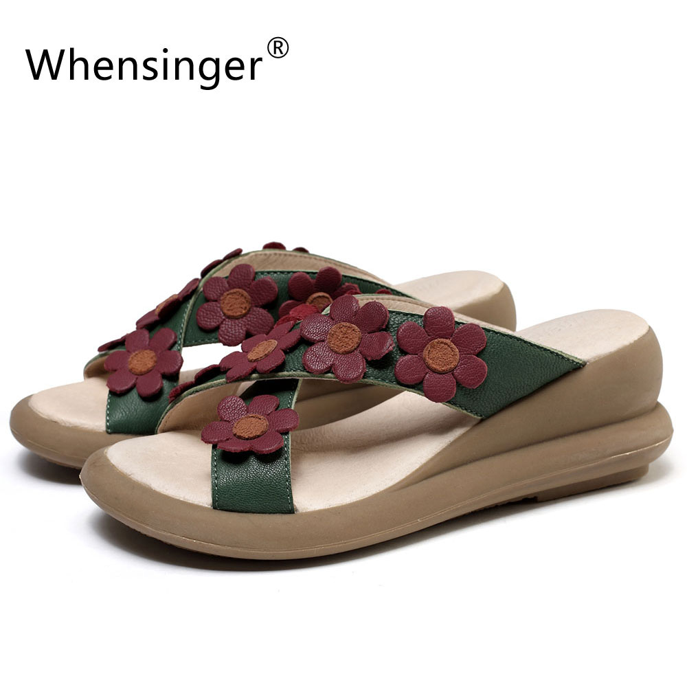 Whensinger - 2017 Women Genuine Leather Sandals Summer Fashion Design Shoes 2123 whensinger 2017 new women fashion boots genuine leather fashion shoes rubber sole hands sewing 2 color 7126