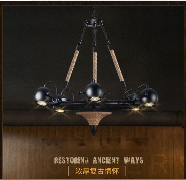American loft Retro industrial personality Restaurant coffee bar counter tooling shop Hemp rope Wrought iron chandelier ancient ways wrought iron chandelier personality american sitting room bedroom restaurant bar counter 4 head droplight