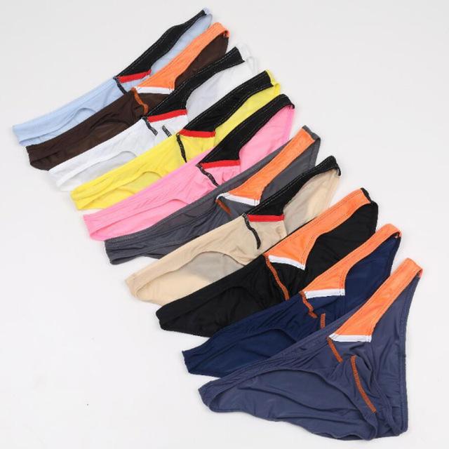 Sale Low waist Sexy Underwear Men's Briefs M-XXL Breathable Soft  Sexy 2018 New Ice Silk Transparent Briefs