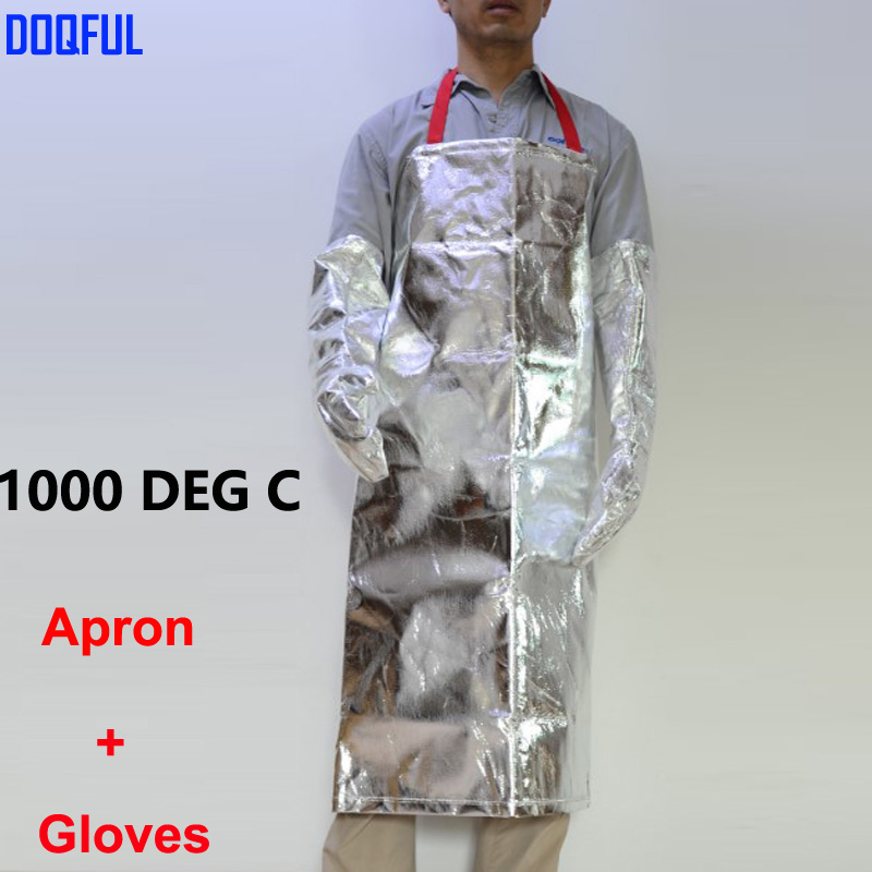 Heat Resistant 1000 Degree Aluminized Apron With Aluminum Foil Gloves High Temperature Working Thermal Radiation Aprons Glove