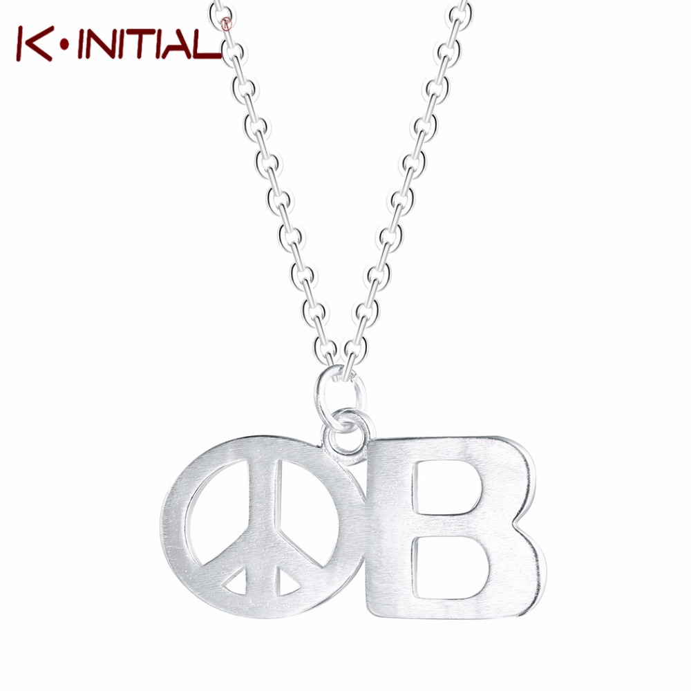 Kinitial Silver Peace Sign Chain Necklaces Charm Long Symbol Pendant Necklace Letter B N ...