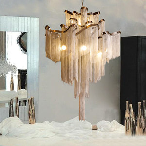 Image 5 - Moderne Luxe Zilver Goud Aluminium keten omzoomd Hanger Lamp Luxe Trap Hanger Opknoping Licht voor Thuis Hotel Decoratie