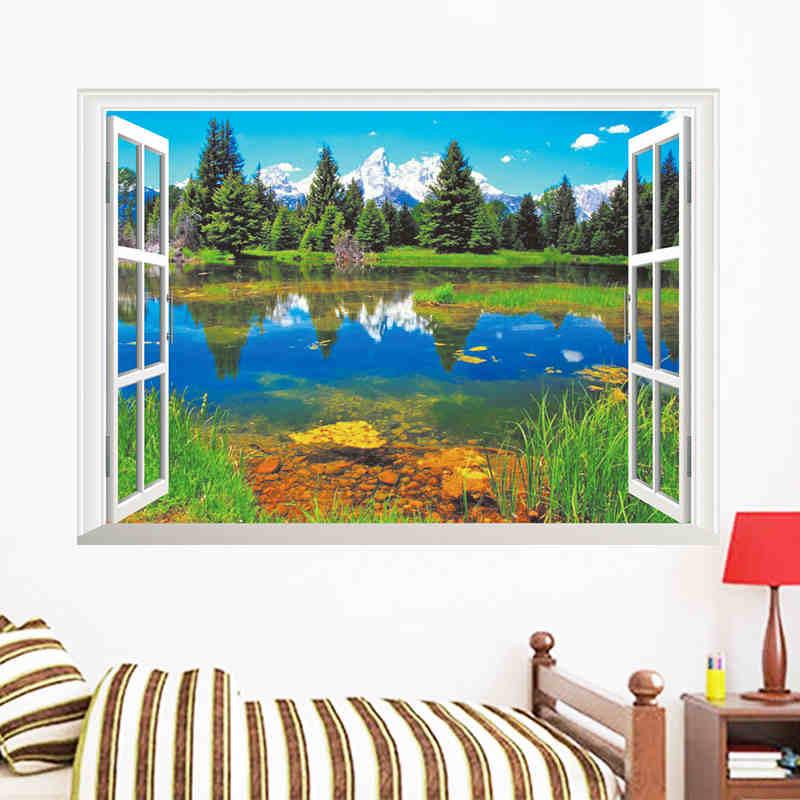 Natur Berge See Wald Bäume Haus 3D Szene Fenster Aufkleber Wand Poster  Vinyl Decor Für Wohnzimmer