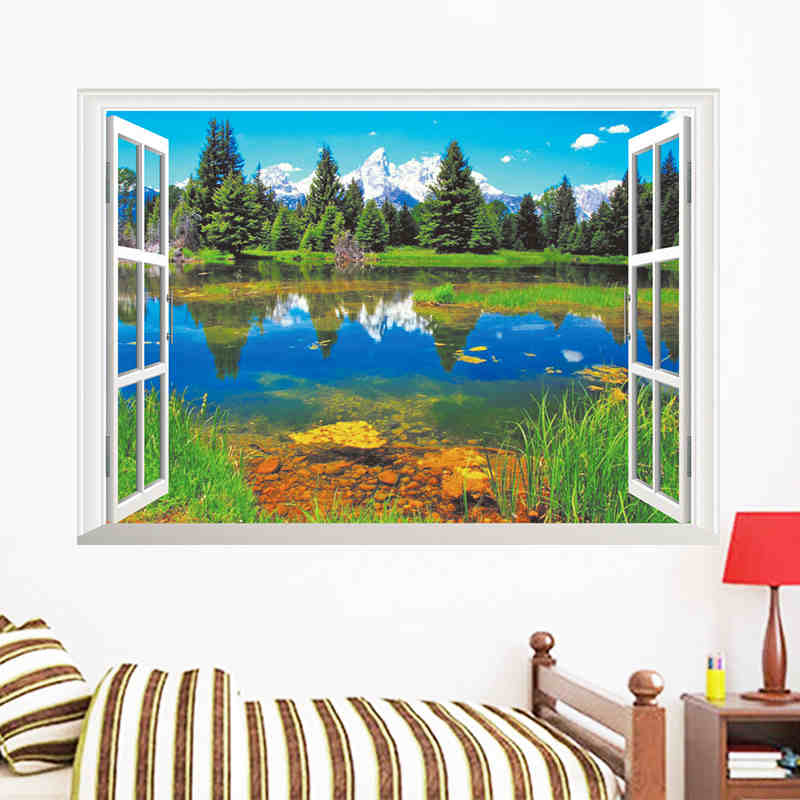 Nature Mountains Lake Forest Trees House 3d Scene Window