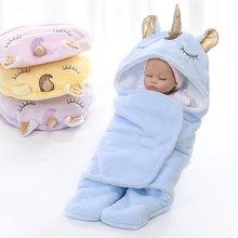 New Winter Double Flannel Unicorn Baby Swaddle Thickening Warm Baby Boy Girl Blanket Wrap Newborns Sleeping Bag Bedding Blanket цена