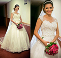 2016 Plus Size Ball Gown Wedding Dresses Sheer Jewel Neck Cap Sleeves Lace Appliques Beaded Belt Tulle Princess Bridal Gowns