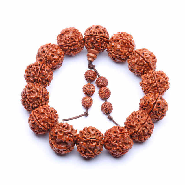 BRO853 Nepal cinco cabezas grandes Rudraksha Bodhi semillas pulseras tibetanas budista oración cuentas Mala grandes cuentas para hombre