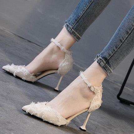 Mujeres 2019 Tacón Bien Y Palabra Blanco De Otoño Salvaje Hebilla Primavera Alto Beige Zapatos negro Nuevo Una Con WnHWBSv0