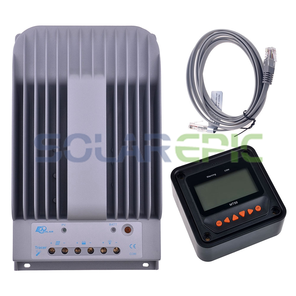 MPPT 40A Solar Charge Controller+Remote Meter MT50 EPEVER Max PV 150V Input Battery Solar Panel Regulator 12V/24V DC Auto Charge 10a mppt solar charge controller remote meter mt50 epever battery regulator 100v pv input 12v 24vdc auto with lcd display
