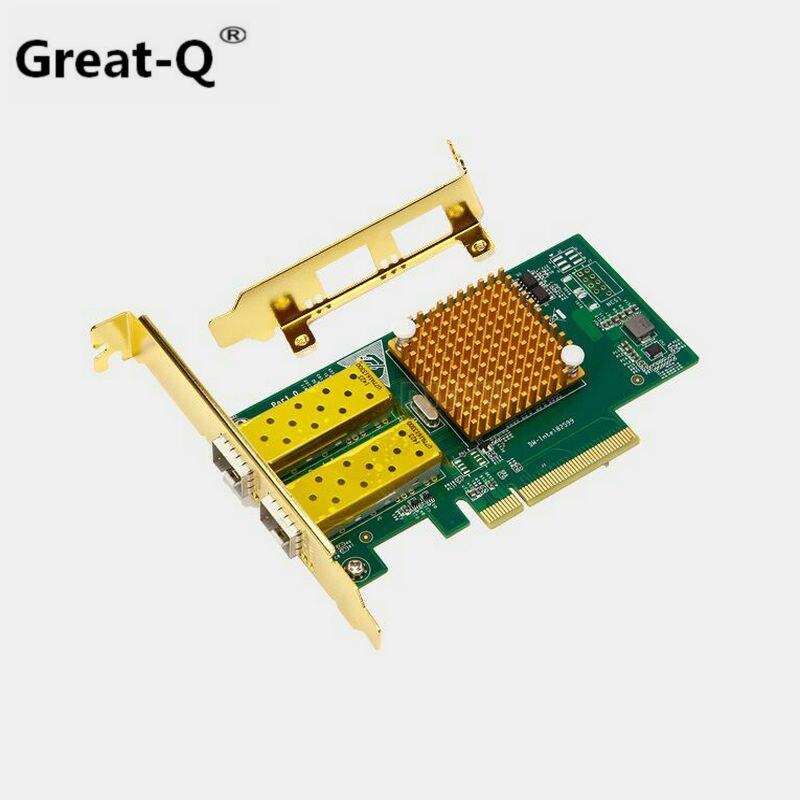 Carte Lan optique de réseau Ethernet Pci express FCoE Intel 82599/X520 PCIe x8 10 Gigabit avec double convertisseur d'adaptateur de Port SFP +