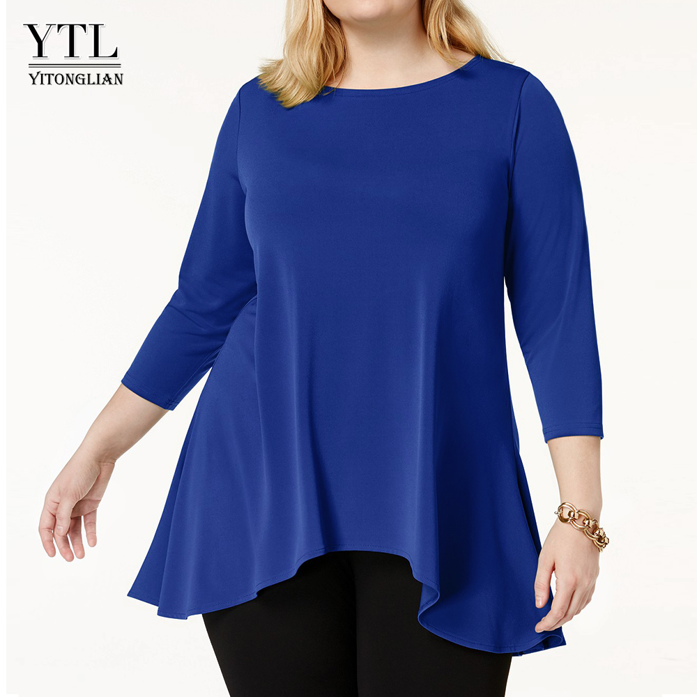 Women Elegant Solid Simple Style Top Spring Summer 3/4 Sleeve Asymmetrical Hem Long Office Lady Casual Blouse Plus Size H199