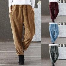 245a79e7dc5a Plus la Taille S-5XL Automne Femmes Pantalons En Velours Côtelé Pantalon  Mujer Taille Élastique