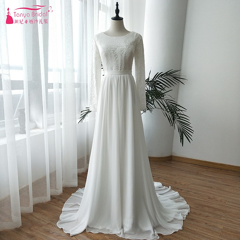 Weddings Gowns With Sleeves: Lace Long Sleeve Wedding Dresses 2019 Chiffon Belt Sweep