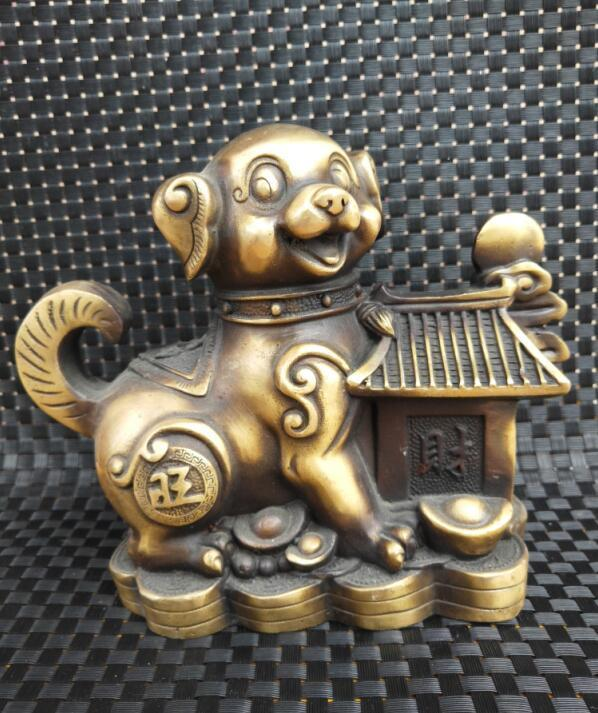 China Brass coin dog Wealth crafts statueChina Brass coin dog Wealth crafts statue