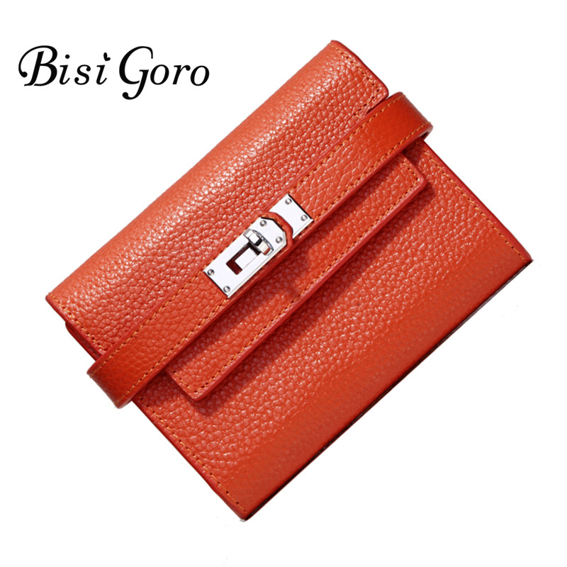Bisi Goro 2018 Fashion Cowhide Leather Wallet Women Short Purse With Metal Lock Female Change Multi Card Holder Girls Clutch bisi goro new 2017 women wallets cowhide leather long clutch wallet female high capacity coin purse card id holders candy color href