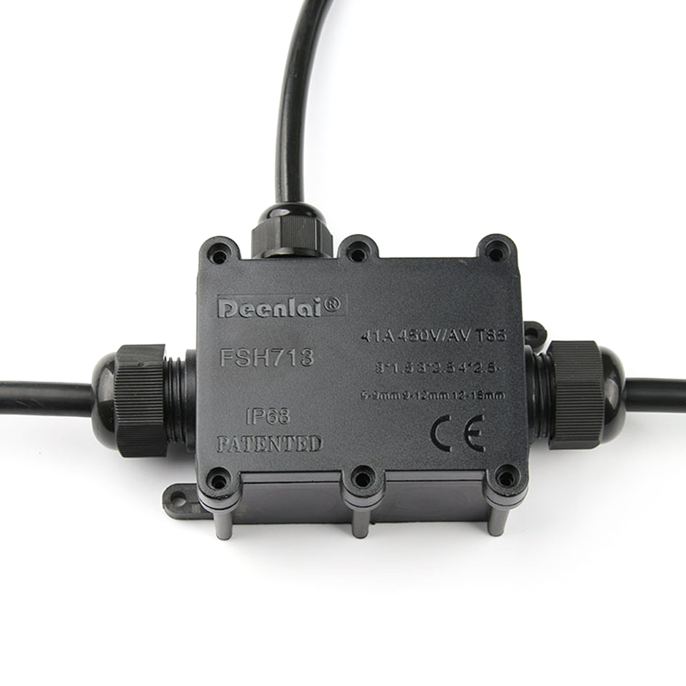 Black Waterproof Outdoor External Ip68 Plastic Cable Wire Connector Junction Box Wiring Protection Gland Electrical 3 Way