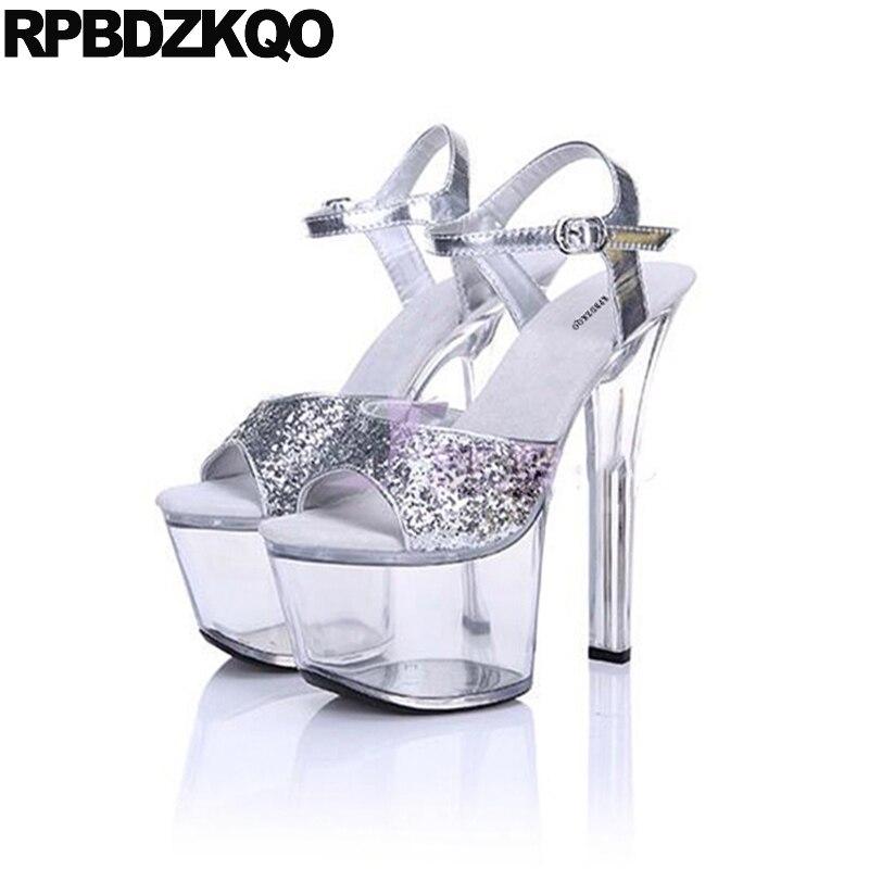 Sexy Shoes Fetish Sequin Glass High Heels Platform Stripper Pumps Plus Size  Stiletto 11 Women Crossdressed Double Strap Sandals 18742b64bbed
