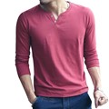 2016 Autumn New Men's T-Shirt Solid Color Cotton T-Shirts Slim Long Sleeve Button T Shirts Brand Clothing V Neck T Shirt Men 5XL