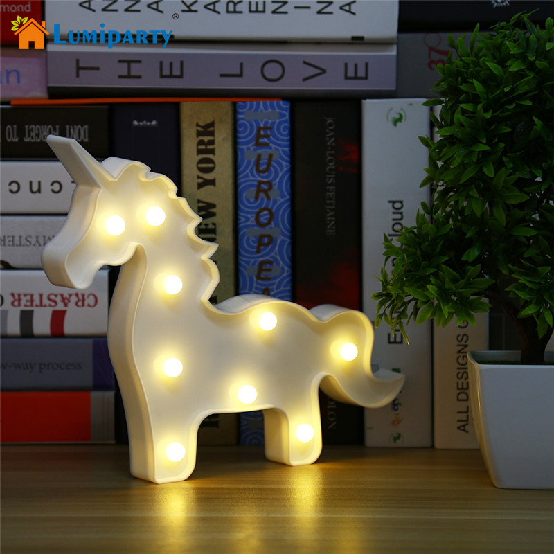 Lumiparty Unicorn Shaped Table Lamp 3D White Marquee Unicorn Sign Letter Nightlight Home Decoration Battery Operated