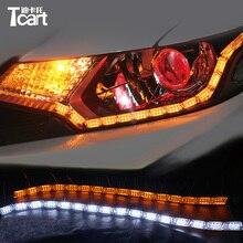 Tcart 1 компл.. Кристалл Ангел Слеза глаза дневные ходовые огни с поворотниками лампы Авто поток DRL светодио дный светодиодные гибкие боковые полосы света