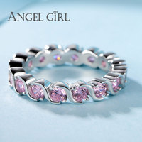 Angel Girl New 100 925 Sterling Silver Rings Finger Ring S Style With Pink CZ For