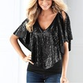 Summer Beautiful Sequin Women Lady Sparkle Glitter  T-Shirt  Clothes