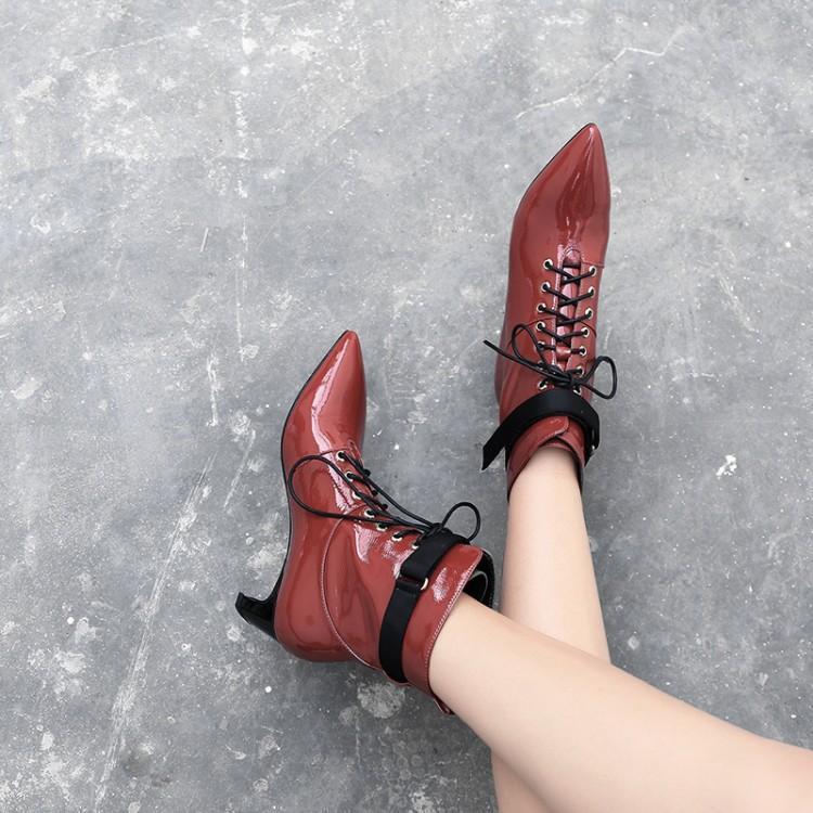 Femmes Vin As En Chaussons Croix Moyen Chaussures Show Pour Show Pointu Bout Chic Femme Cuir Talon Verni Cheville Carré Noir Liée as Dames Bottes Rouge aa1rx84