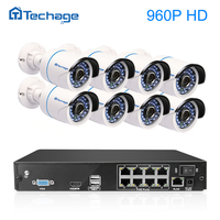 Techage 8 Channel POE NVR 960P Video CCTV Security System 8 Indoor Outdoor Weatherproof Camera With