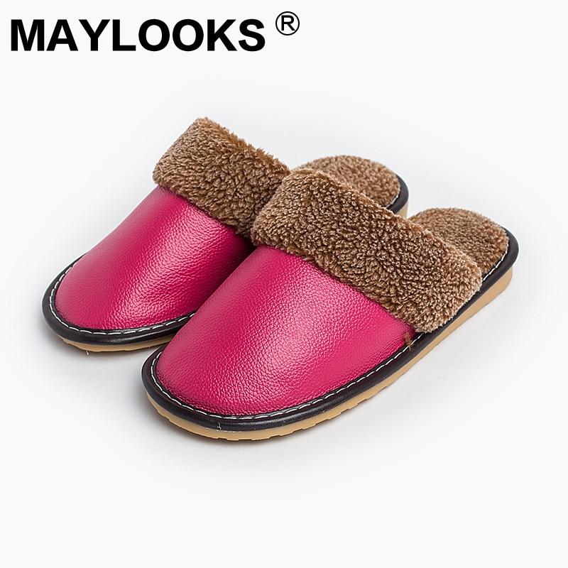 Ženske natikači zimski iz pravega usnja, gume, debeli s plišanimi - Ženski čevlji