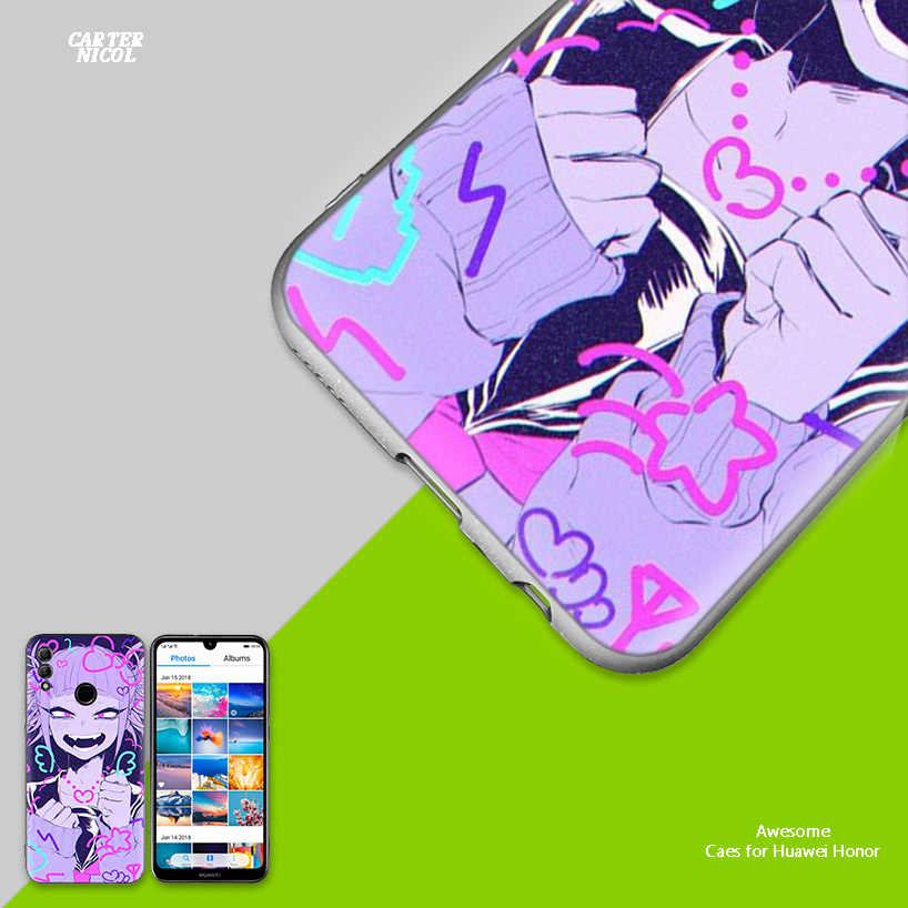 LEWD Sad Japanese Anime ABlack Silicone Case Cover for Huawei Honor 8X 8C 8A 8S 10 10i Lite Play V20 Y9 Y7 Y6 Y5 Prime 2018 2019