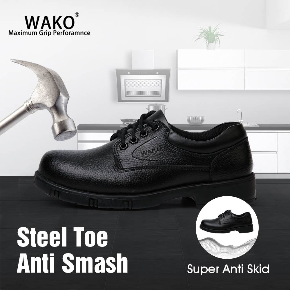 WAKO Steel Toe Men Safety Shoes,Anti-Skid Kitchen Work Chef Shoes,Leather Material Slip On Protective Shoes Outdoor Boots 9801-0