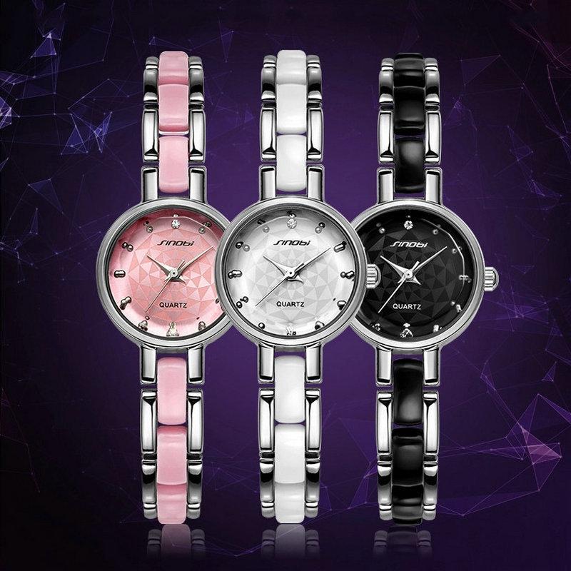SINOBI Top Brand Luxury Rhinestone Bracelet Watch Women Watches Ladies Watch Hour Quartz Clock montre femme