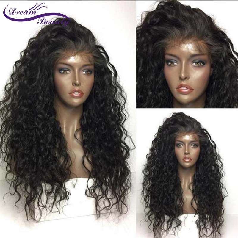Dream Beauty Remy 130 Glueless Pre Plucked Lace front Human Hair Wigs Curly Wig peruvian Human