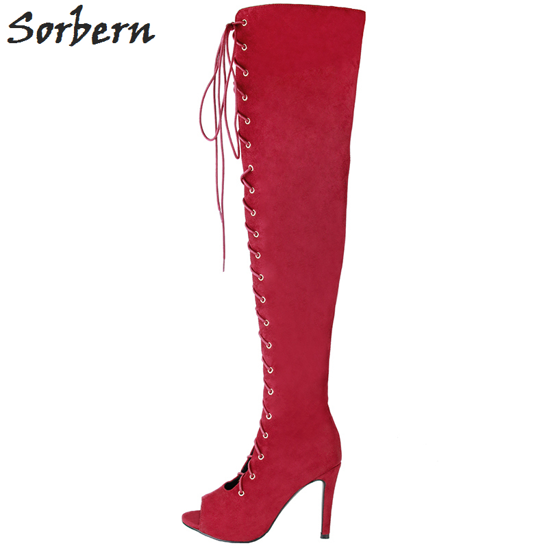 Sorbern Red Boots Women 2018 Lace Up Peep Toe Plus Size China 34-47 Flock Fashion Ladies Party Boots Over The Knee Length B plus size light up cosplay party skirt