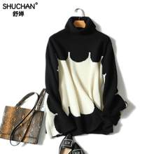 Shuchan 2018 New Winter Women Sweaters Patchwork Soft 100% Cashmere Sweater Knitting Women Sweater Loose Knitted Pullovers Tops(China)