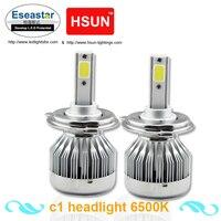Eseastar 2pcs 6000LM LED Headlight Base Have H1 H3 H7 H8 H11 9005 9006 H4 H13
