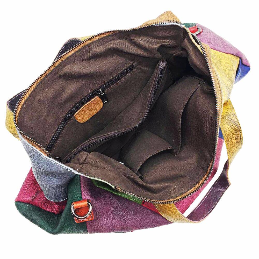 Patchwork Lederen Tas Dame Vintage Retro Chic Grote Capaciteit Handtas 2019 Fashion Designer Luxe Crossbody Tas voor Vrouwen-in Top-Handle tassen van Bagage & Tassen op  Groep 3