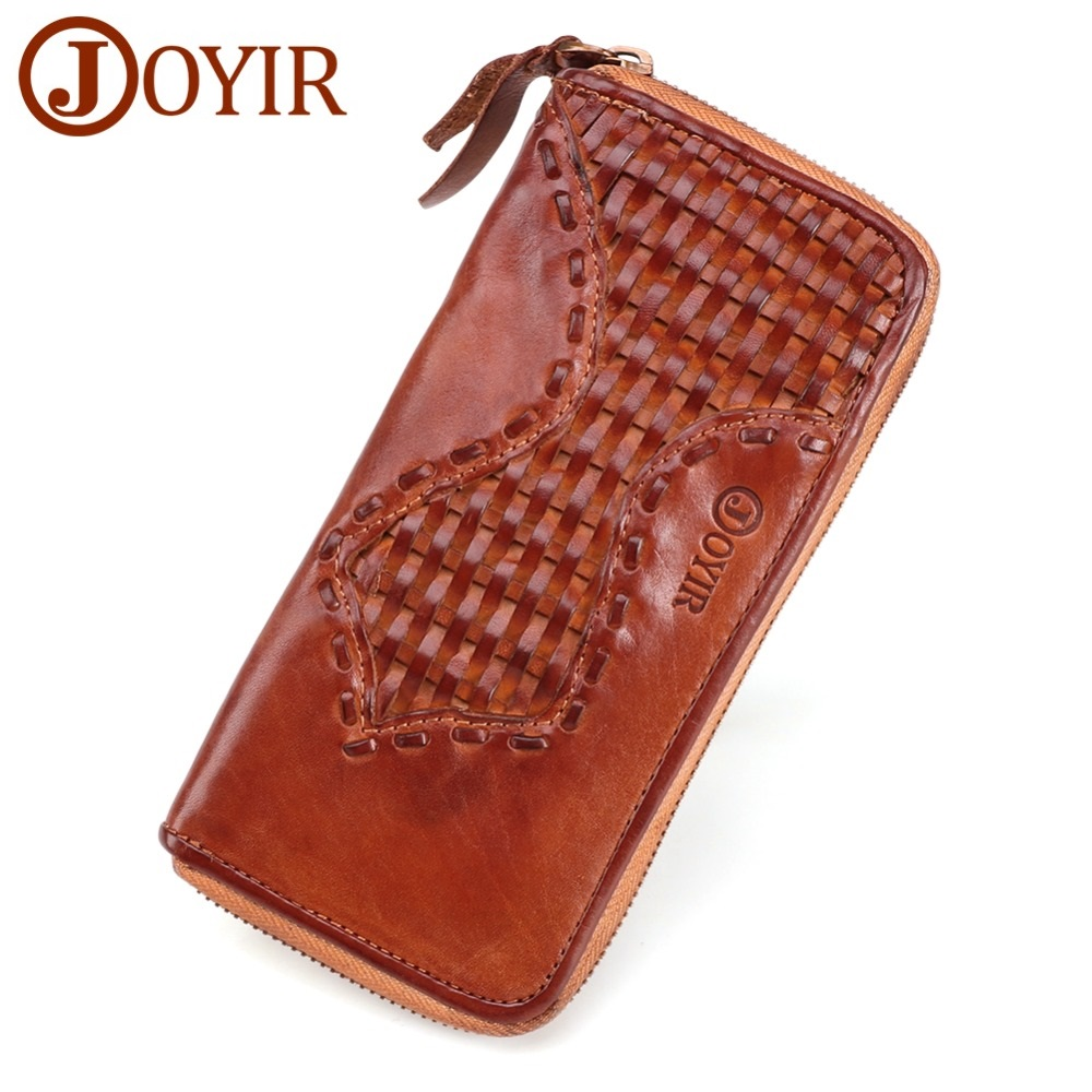 New Men's Business Wallet Genuine Leather Long Purse Male Zipper Clutch Vintage Money Clip High Quality Cow Leather Knitting Bag new oil wax leather men s wallet long retro business cowhide wallet zipper hand bag 2016 high quality purse clutch bag page 8