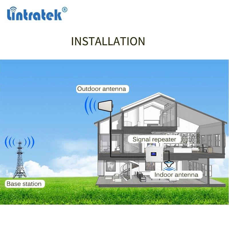 Lintratek Tri Bande Amplificateur 900 1800 2100 GSM Répéteur de Signal Mobile DCS WCDMA 2G 3G 4G LTE Amplificateur de Signal cellulaire 4G Antenne - 5