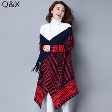 купить SC69 New Open Collar 2018 Knitting Scarf Women 's Winter Warm Geometric Pattern Irregular Scarves Women Print Poncho Pashmina по цене 1953.49 рублей