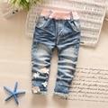 Otoño Del Resorte de los Bebés de Mezclilla de La Vendimia Dulce Flor Kids Pantalones Encuadre de Cuerpo Entero Pantalones roupas de bebe