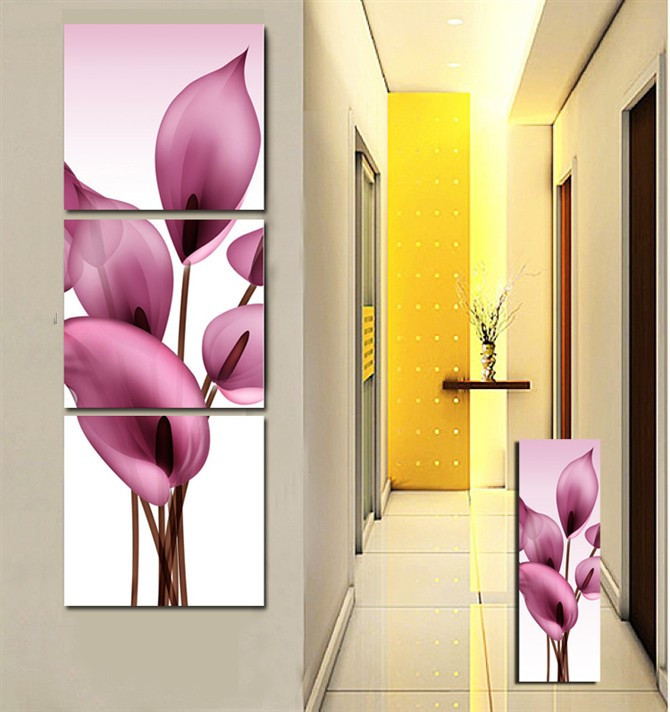 Aliexpress Buy Free shipping 3Panels Living Room Decorative Canvas Painting Modern Huge Picture Paint Print Art Romance pink Flower Wall from Reliable