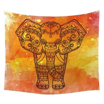 Tapiz de pared indio de elefantes Mandala psicodélico suerte mano de poliéster tapiz personalizado decoración colgante de pared Boho Muur Doek