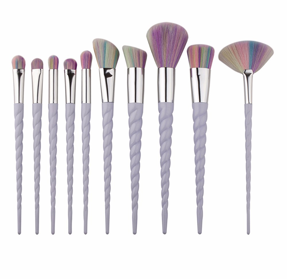 HUAMIANLI Unicorn make up brush set Spiral Pattern Foundation Powder Makeup Brushes Professional Cosmetics Tools 10 PCS/set